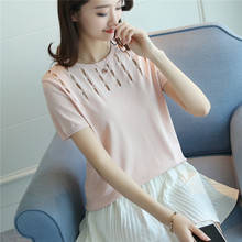 38 summer new slim energy-saving hollow hole women's ice linen shirt F1718