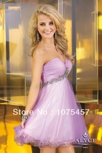 Lavender Cocktail Dresses Sweetheart Organza Pleat with Beading Train Zipper Back Off the Shoulder Mini Free Shipping CJ44
