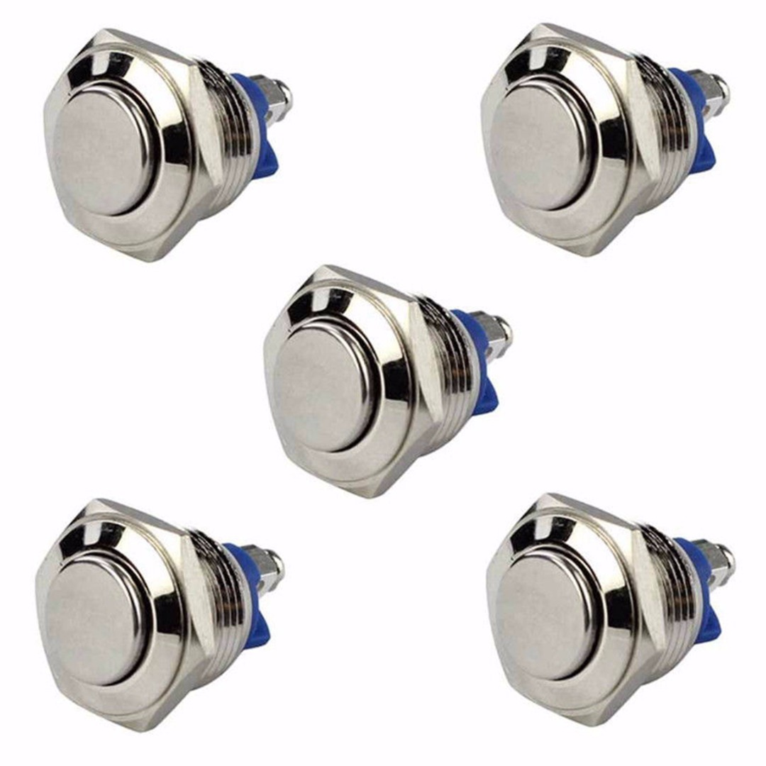 5pcs 16mm Metal Waterproof Push Buon 3A/250V Momentary Horn Switch Auto Reset Sier Round Shape