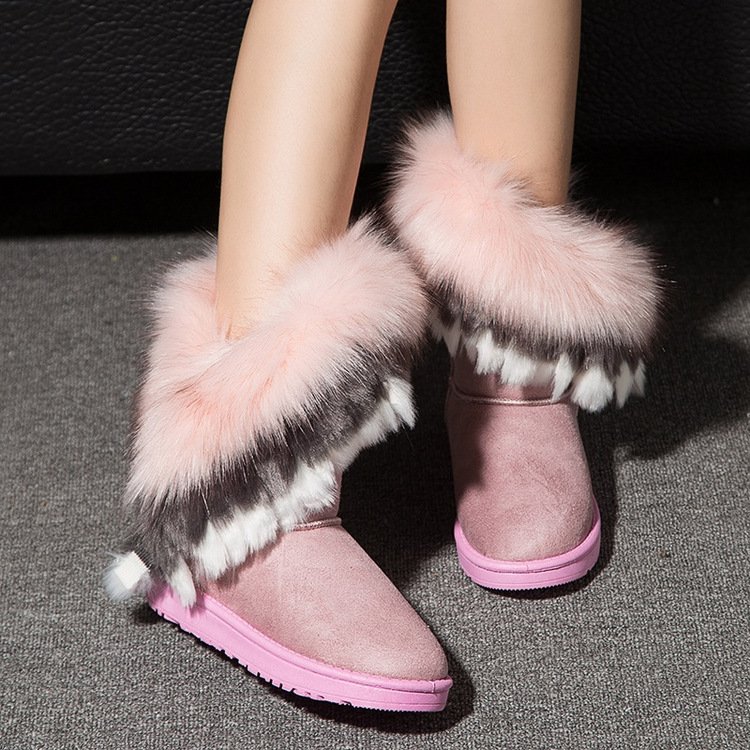 New Fashion Women Boots Winter Snow Boots Wool Exports Imitation Fox Fur Boots Big Shoes Tube High Fringed Boots Piwama<br><br>Aliexpress
