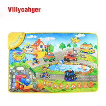 Free shipping 74x49.5cm baby Music car Voice Singing play mat, baby game carpet, baby Travel Gym Play 8839(China)