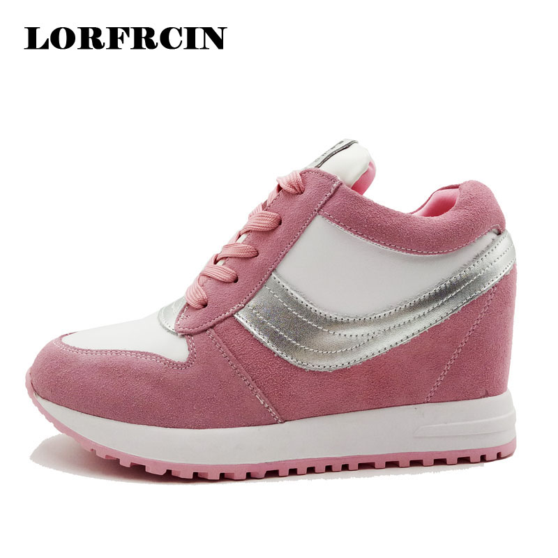 LORFRCIN Womens Shoes Genuine Leather Height Increasing Platform Shoes For Women High Heels Sneakers Casual Shoes Woman 2018<br>