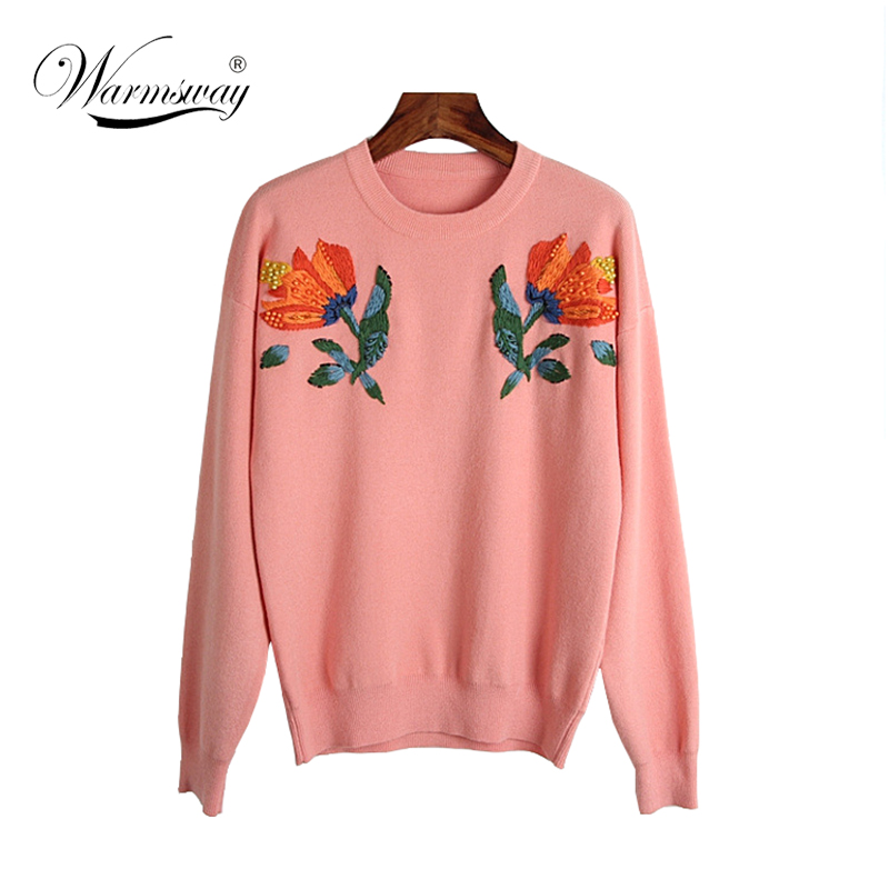 Autumn Women Sweater 3D Floral Embroidery Comfortable Vintage Pearl Beading Sueter Mujer Chandail C-199
