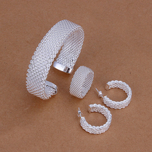 s275 925 sterling sliver jewelry sets The thick open mesh cuff bangle bracelet earring rings for women jewelry set jewellery(China)