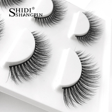 Winged Natural Long Mink False Eyelashes Marten Hair Makeup Natural Stage Party Like Wispies Cross 3D Eye Make Up Lashes 3 Pairs