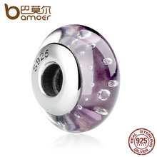 BAMOER 925 Sterling Silver Purple Murano Beads European Glass Beads Fit DIY Bracelets Necklace Beads & Jewelry Makings SCZ001(China)