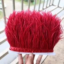 4-6inch red natural ostrich feather trim wedding decoration ostrich plume fringe trims for clothing craft sewing trim 2yard/lot(China)