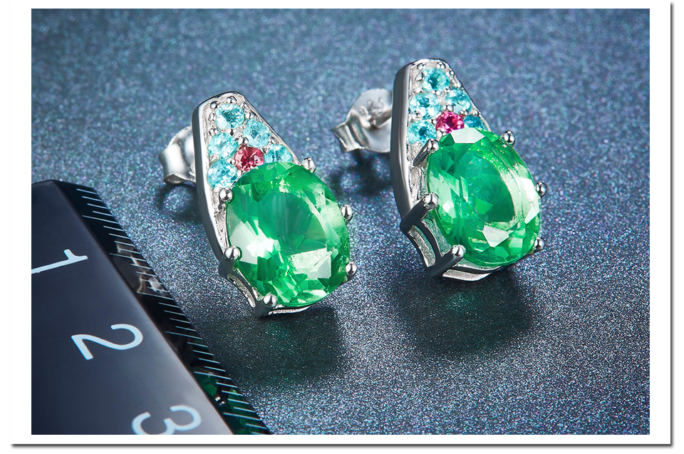 HUTANG Stone Jewelry Sets Natural Gemstone Fluorite Tourmaline Solid 925 Sterling Silver Bridal Jewelry Ring Pendant Earrings