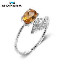 Lovely Leaf Natural Gemstone Citrine Rings For Women 925 Sterling Silver Wedding Engagement Jewelry Adjustable Fine Jewelry(China)