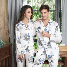 Couples Silk Pajama Sets Satin big size Sleepwear Long Sleeve  night suit Lounge Set Leisure Homewear  verano mujer pijama suit