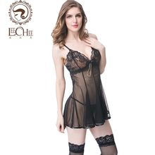 Leeches Q910 latex women lingerie sexy hot erotic nightwear dress hot black lace prospective bow temptation porn sexy shop(China)