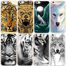 Buy Cute Animals Cheetah Wolf Tiger Printed Pattern Phone Case iPhone 7 6 6S Plus 5S SE 5 Soft TPU Back Cover Fundas Capa for $1.17 in AliExpress store