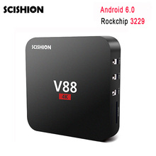 10pcs V88 Android TV BOX Rockchip 3229 Quad Core Android 6.0 RAM 1G ROM 8G WiFi HDMI 2.0 4K* 2K Full HD Media Player