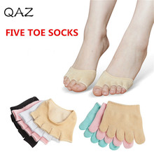 QAZ Five Toe Sock Invisable Shallow mouth Anti-slip Sock Half Footie Open Toe Socks Forefoot Sock for High Heels Sandal W170(China)
