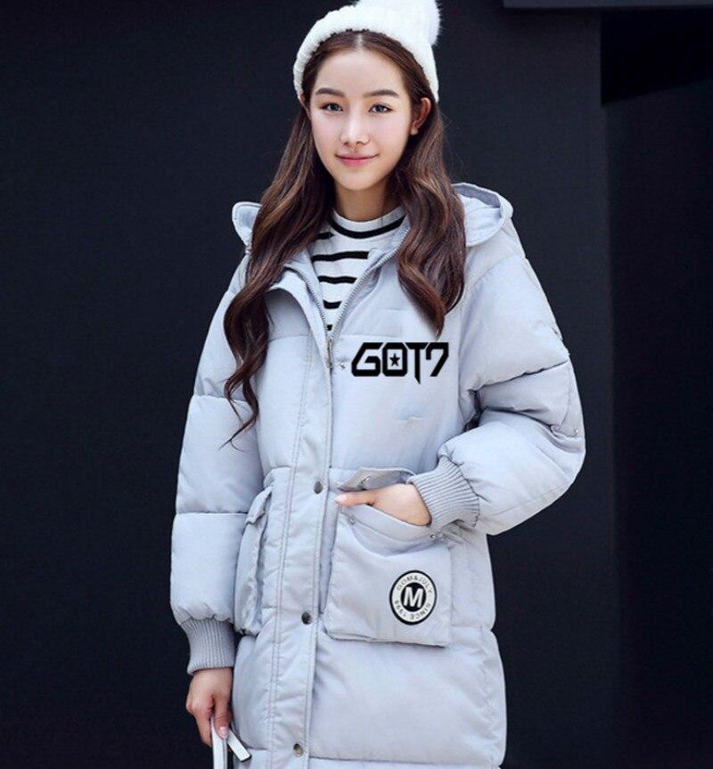 GOT7 New winter 2017 BTS KPOP men women Korean version black Pink gray green Letter printing Hooded Thickening coat Down jacketОдежда и ак�е��уары<br><br><br>Aliexpress