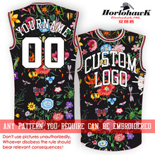 Horlohawk 2017 New Basketball Jersey Custom Embroidery Name Number Logo US Size Men's Print Flowers Black Jersey