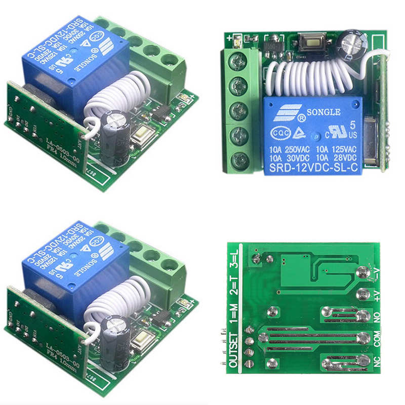 10A 1 Channel Receiver Wireless Relay RF Remote Control Switch DIY Module DC12V For Remote Control DIY Integrated Circuits(Hong Kong)