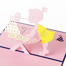 1Pc 3D Paper Laser Cut Carving Birthday Girl PostCard Greeting Cards Party Invitation Card Thanksgiving Day Gift 10*15CM(China)