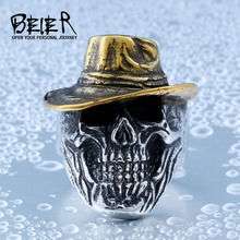 Beier new store 316L Stainless Steel ring Winged Plated-Gold Hat Skull Biker Ring Cool Punk Ring Jewelry LLBR8-417R