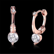Rose Color Stud Earrings Round Pear Fashion Jewelry Zircon Rectangle arrings For Women Eh123