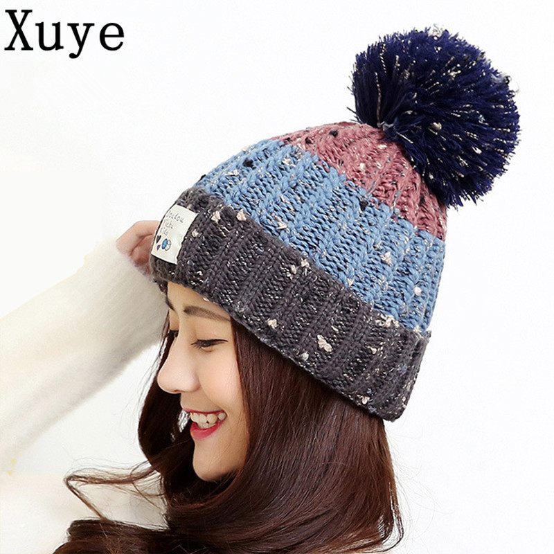 XUYE women knitted ball thicken cashmere warm hat girl wool Skullies Beanies fashion cap lady Pompon hats  protect head ears capОдежда и ак�е��уары<br><br><br>Aliexpress