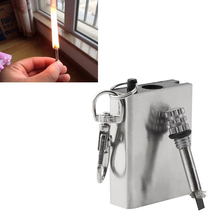 1Pcs Stainless Steel Match Lighter With Key Chain Survival Camping Emergency Fire Starter Flint Square Match Lighter