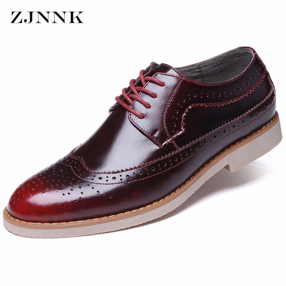 ZJNNK Hot Sale Men Leather Casual Shoes Fashion Men Brogue Shoes Carved Zapatos Hombres Vintage British Men Leather Shoes<br>