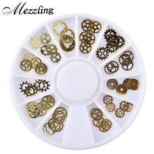 Mezzling 1 Box Ultra-thin Steam Punk Parts Style Nail Studs 3D Nail Art Decorations Wheel Metal Manicure DIY Nail Tips Art(China)