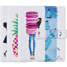 Macaron Butterfly Girl Painting Wallet Leather Case sFor LG G3 D855 D850 F400 VS985 LS990 Phone Bags Flip Stand TPU Back Cover(China)
