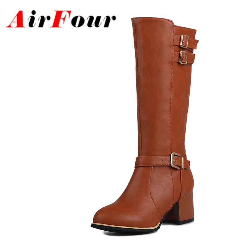 ENMAYLA New Winter Med Heels Buckle Knight Boots Women Yellow Brown Black Colors Zipper Half Boots Plus Size Shoes Women<br>