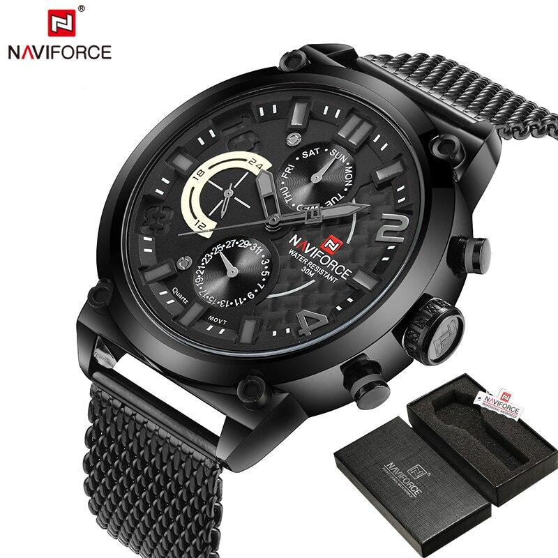 NAVIFORCE Original Luxury Brand Stainless Steel Quartz Watch Men Calendar Clock Sports Military WristWatch Relogio Masculino<br>