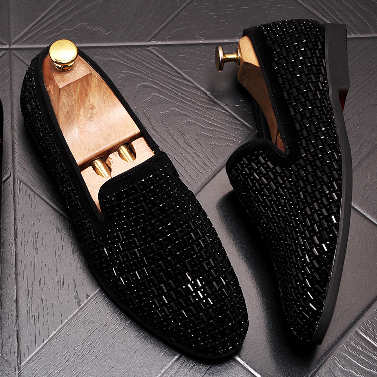 2019 New Gradient Striped Rhinestones Loafers shoes SmokingSlippers Dress Wedding Party Flats Casual Moccasins shoe 52 Online shopping Bangladesh