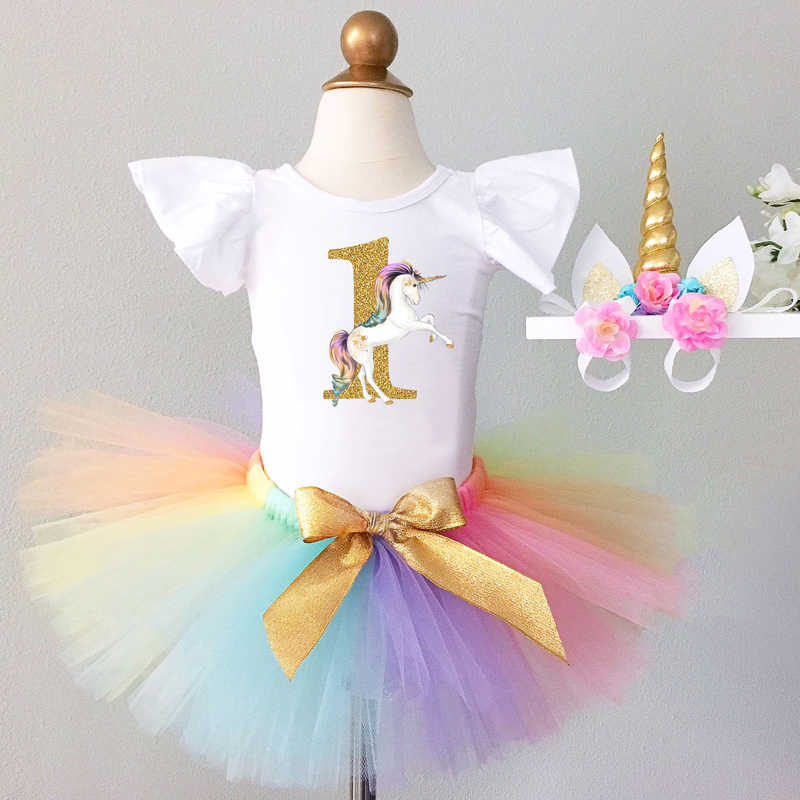 77fe30159a First Year Baby Girl Unicorn Outfit Birthday Dress Princess 1st Baptism  Dress For Infant Girls Clothes