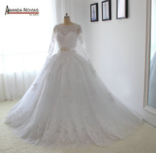 Long Sleeves Lace Wedding Dresses Elegant French Lace Wedding Dress