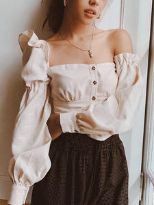 Macheda Top Women Buttons Long-Sleeve Ruffle Vintage Off-Shoulder Fashion Summer Casual