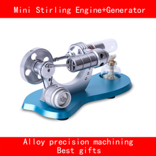 Double cylinder stainless steel aluminium alloy base precision machining mini stirling engine+generator with LED best gifts(China)