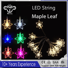 2017 New LED Maple Leaf Battery Powered Holiday LED String Lights High quality for Christmas Tree Wedding Party Living Room Dec