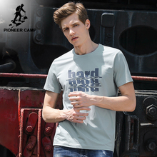 Pioneer Camp New letter printed T-shirt men brand clothing fashion summer short T shirt male to quality stretched Tees ADT701175(China)