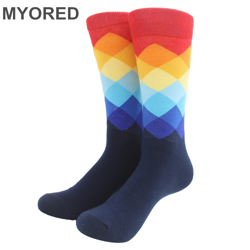 MYORED Male Tide Brand Happy Socks Gradient Color summer Style Cotton wedding sock Men's Knee High Business Socks man sox(China)