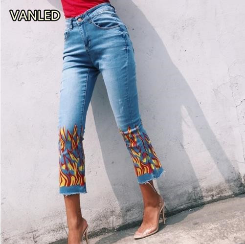 2017 Europe Fashiona Jeans Flame Pattern Fire Printing Womens Denim Pants Womens BottomsÎäåæäà è àêñåññóàðû<br><br>