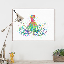 Watercolor Marine Animal Art Print Poster Abstract Octopus Wall Canvas Pictures Bedroom Home Decor Painting No Frame