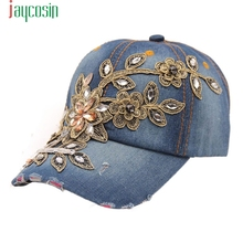JAYCOSIN Jeans Hats Delicate 2017 New Women Diamond Flower Baseball Cap Summer Style Lady Hot Selling wholesale W7