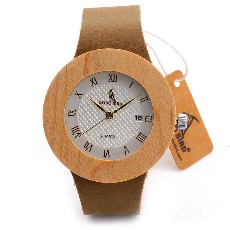 BOBO BIRD F01 Mens Womens Maple Wood Watch White Dial Leather Quartz Wristwatch with Auto Data in Gift Box relogio feminino 2016<br><br>Aliexpress