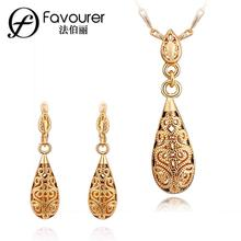 2015 Summer style gold color Cubic zirconia 2pcs fashion lady heart/circle shape jewelry sets S386(China)