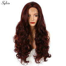 Sylvia Wine Red Bouncy Body Wave Long Synthetic Lace Front Wig 99J# Nature Color Hairstyle Synthetic Lace Front Wig For Women(China)