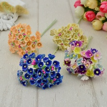 8 pieces / 40 heads 1 cm mini paper flowers roses bouquet artificial flower cheap wedding decoration for scrapbooking DIY flores(China)