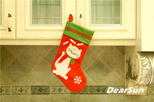 "Free shipping! 1pc/lot lovely cat christmas Stocking 18""Red felt pet stocking christmas indoor decoration gift(China)"
