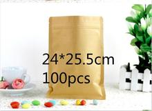 Jolly 12.9  Flat Brown Kraft Packaging Bags Food Bolsa Kraft Paper Bag Storage (accept logo print)