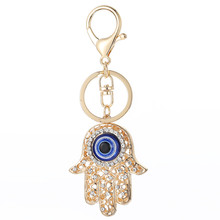 Amulet Hamsa Fatima Hand Evil Eye Keychains Crystal Key Ring Key Chains for Christmas Gift Jewelry Llaveros Pendant G43