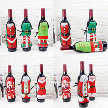 Hot Christmas Apron Santa Wine Bottle Cover Wrap Xmas Dinner Party Table Decoration(China)